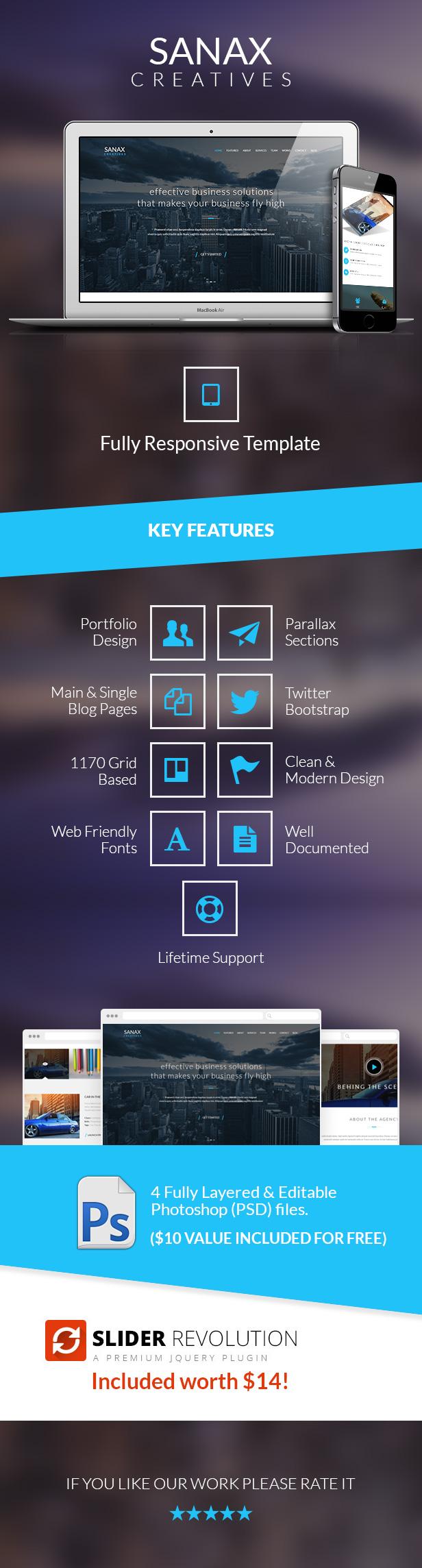 Sanax - Responsive One Page Multi-Purpose Parallax